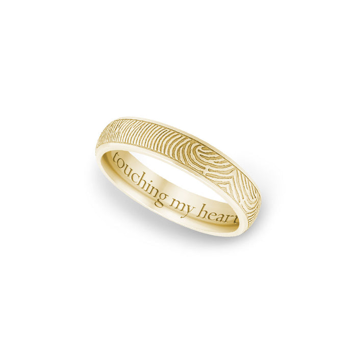 4mm Yellow Gold Half-Round Fingerprint Ring