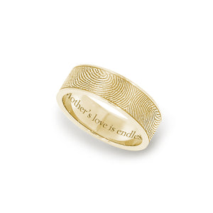6mm Yellow Gold Fingerprint Jewelry Flat Fingerprint Ring