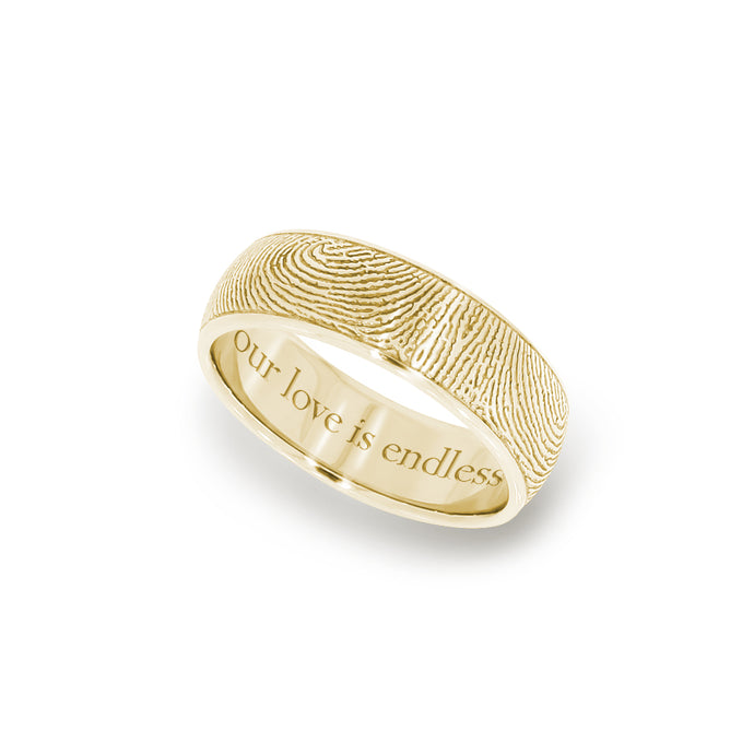 6mm Yellow Gold Fingerprint Jewelry Half-Round Fingerprint Ring