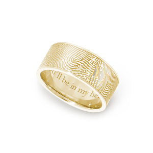 8mm Yellow Gold Fingerprint Jewelry Flat Fingerprint Ring
