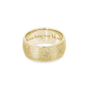 8mm Yellow Gold Fingerprint Jewelry Half-Round Fingerprint Ring