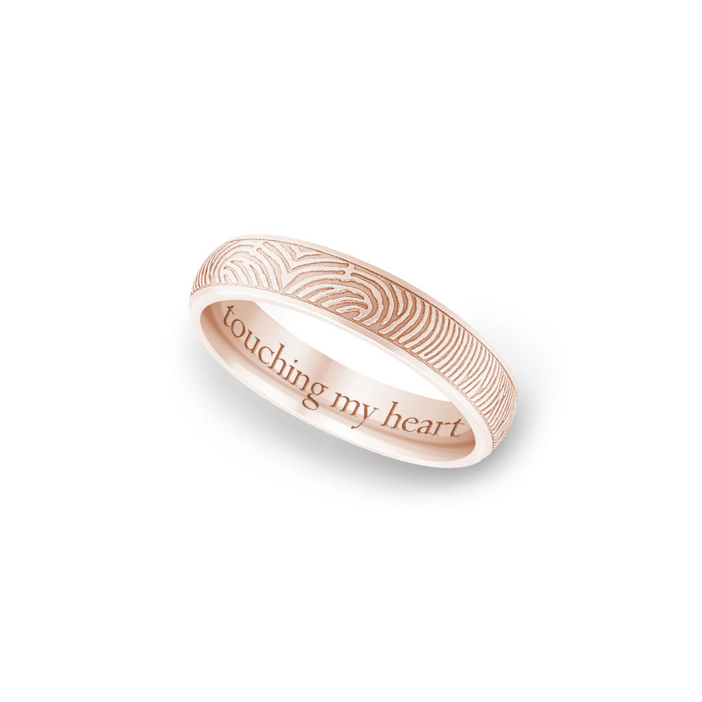 4mm Rose Gold Half-Round Fingerprint Ring
