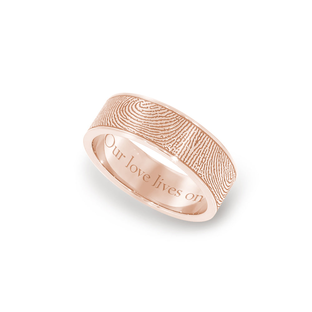 6mm Rose Gold Fingerprint Jewelry Flat Fingerprint Ring
