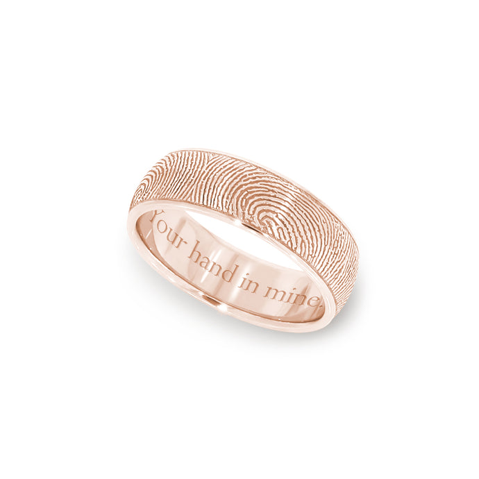 6mm Rose Gold Fingerprint Jewelry Half-Round Fingerprint Ring