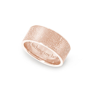8mm Rose Gold Fingerprint Jewelry Flat Fingerprint Ring