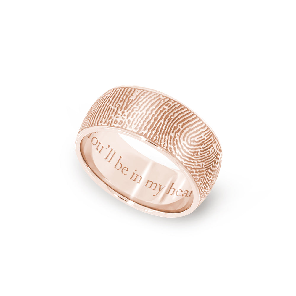 8mm Rose Gold Fingerprint Jewelry Half-Round Fingerprint Ring