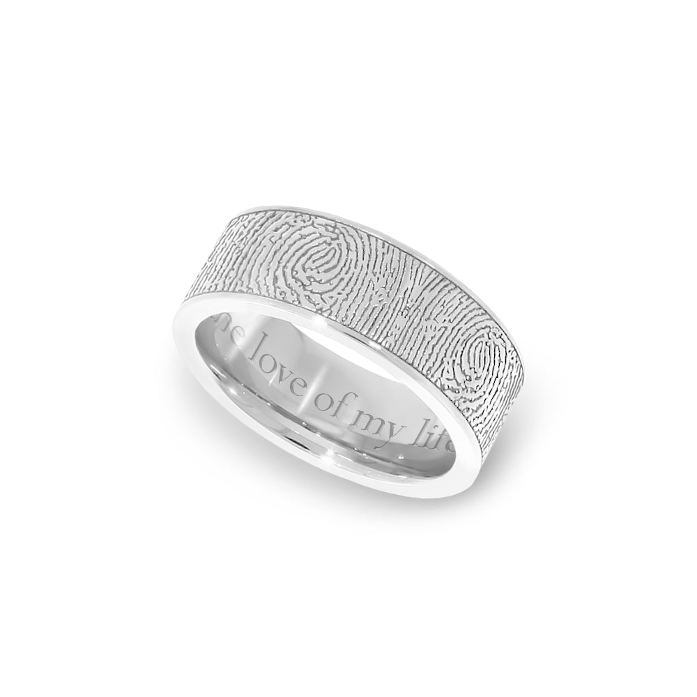 7mm Stainless Steel Fingerprint Jewelry Flat Fingerprint Ring