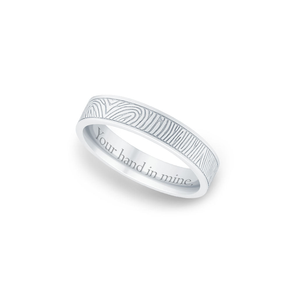 4mm Sterling Silver Flat Fingerprint Ring