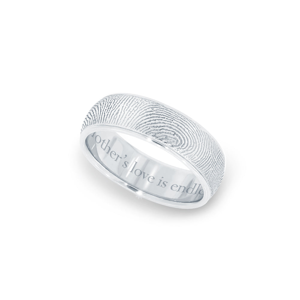 6mm Sterling Silver Fingerprint Jewelry Half-Round Fingerprint Ring