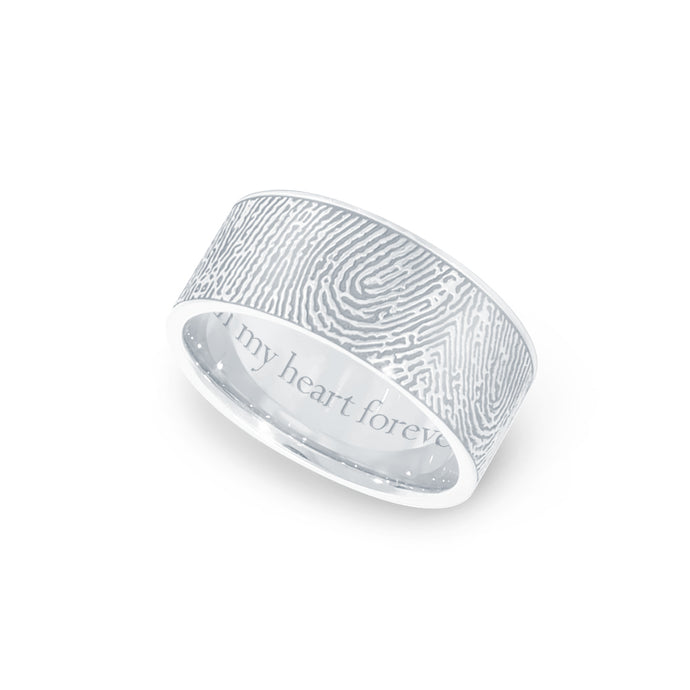 8mm Sterling Silver Fingerprint Jewelry Flat Fingerprint Ring