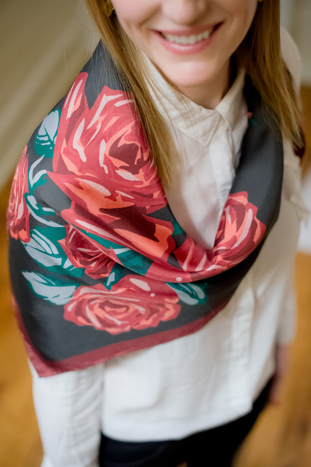 A detail shot of a silk scarf from our MUSE collection.