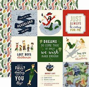 Echo Park Lost in Neverland 4x4 Journaling Cards