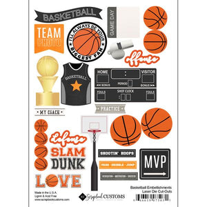 Scrapbook Customs Basketball Embellishments Laser Die Cut-Outs