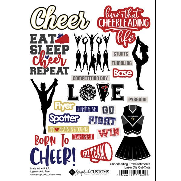 Scrapbook Customs Cheerleading Embellishmennts Laser Die Cut-Outs