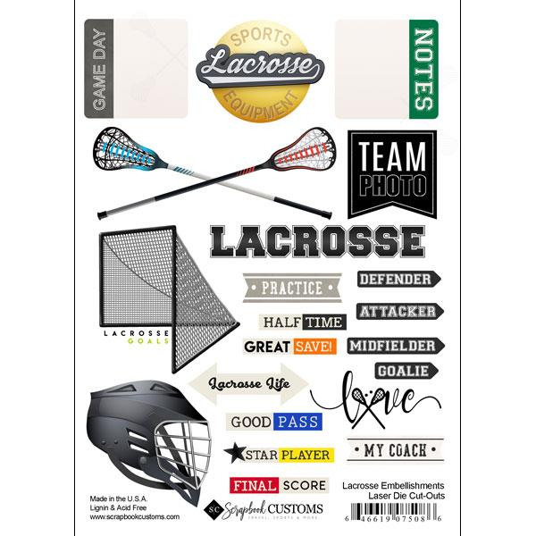 Scrapbook Customs Lacrosse Embellishments Laser Die Cut-Outs