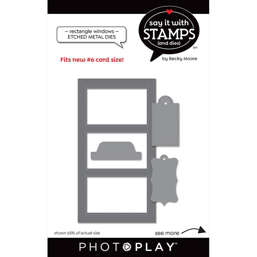 Photoplay Say It With Stamps Rectangle Windows Dies