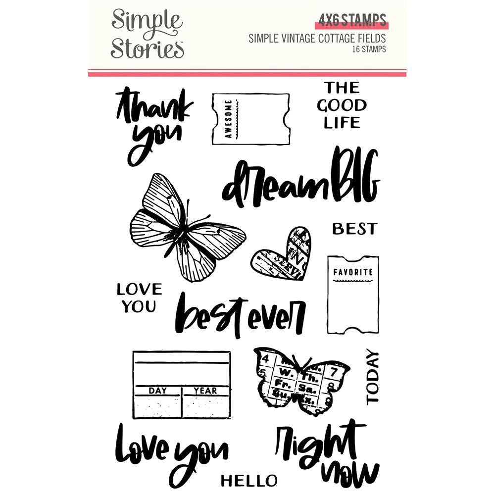 Simple Stories Simple Vintage Cottage Fields 4x6 Stamp Set