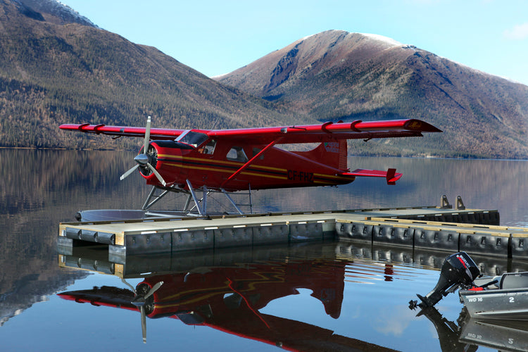 Floating Dock Kit with Red Plane Parked Next to It : Tommy Docks