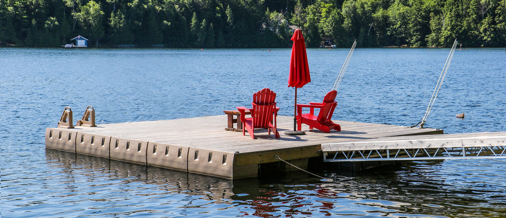 Floating Dock Kits, Dock Floats & Accessories - Red Table/Umbrella : Tommy Docks