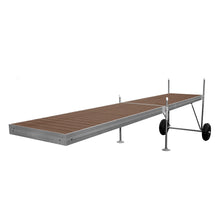 20' Roll-In-Dock Straight Aluminum Frame with PVC Removable Decking Complete Dock Package - Woodland Brown | Tommy Docks - Dock Sets, Hardware & Accessories