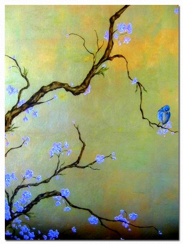 Blue Bird Gold Leaf Canvas