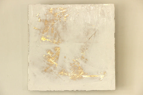 White Venetian Plaster with Gold Leaf