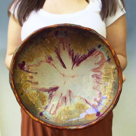 Large Urban Rustic hand built bowl in River Journey 11""
