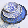 3 piece nesting trays serving set Modern Lace blue and white SECONDS