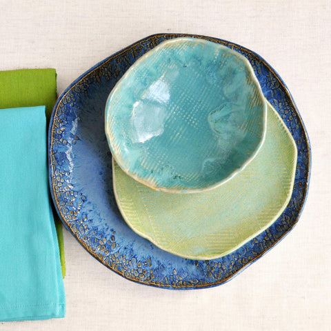 Handmade Dinnerware- Beach Cottage 3 pc set