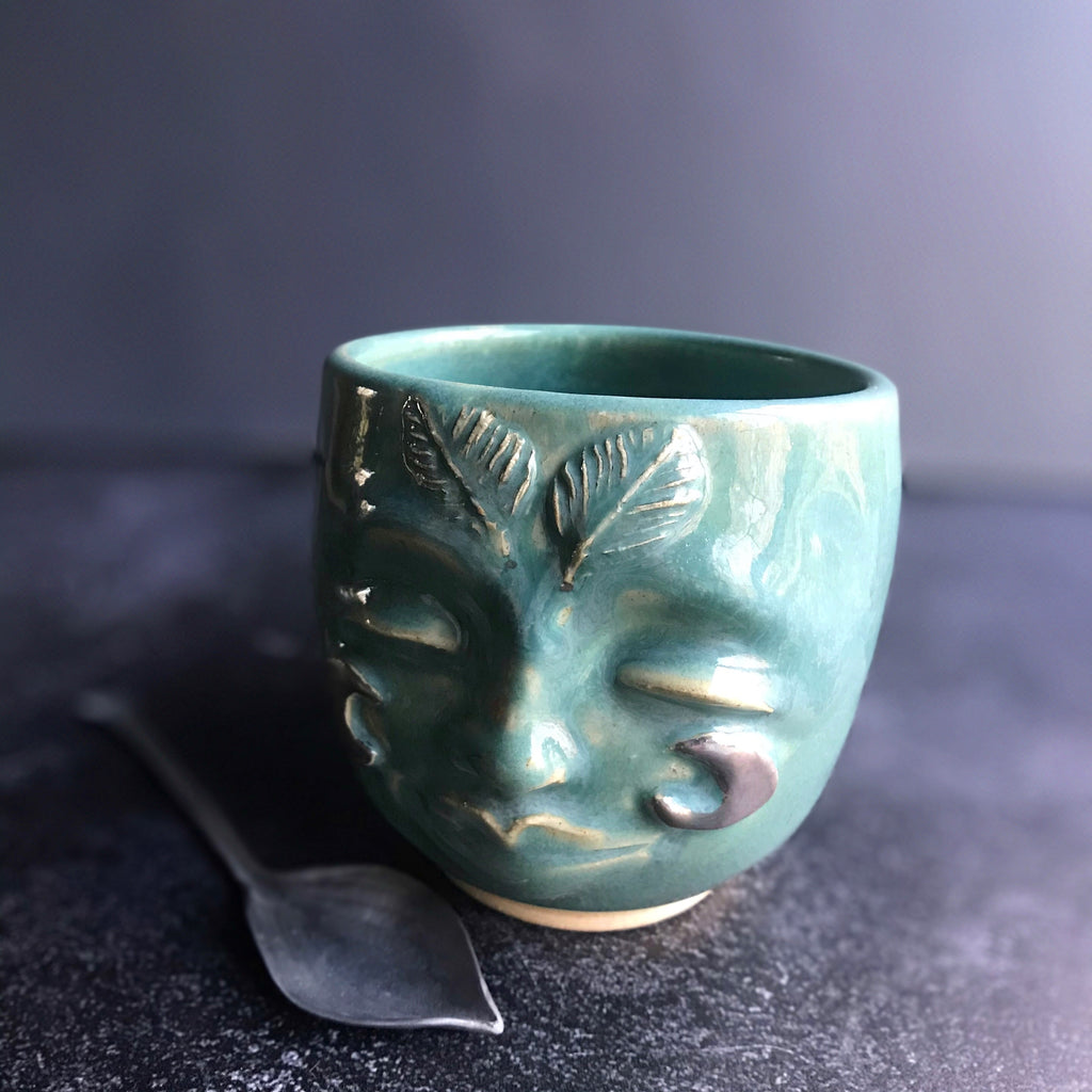 Moth Woman mug in Turquoise and gold luster glaze 14 oz