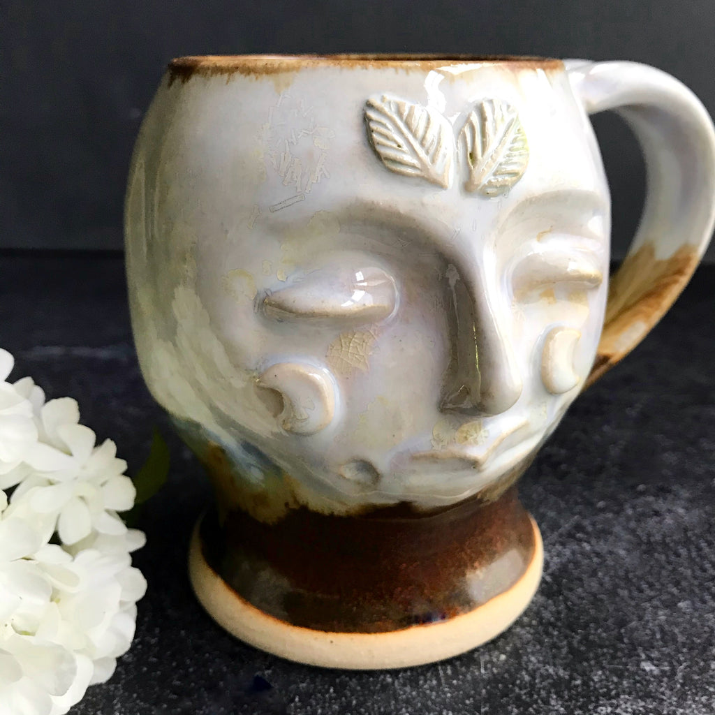 Moth Woman Mug #1 ivory  crystals and red earth glaze 16 oz