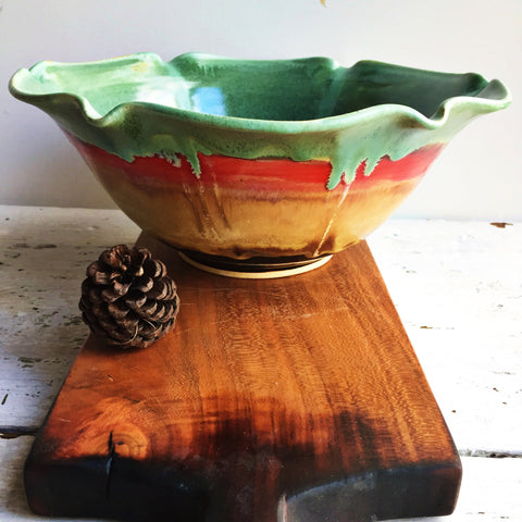 Ceramic Flower Bowl in Autumn Song