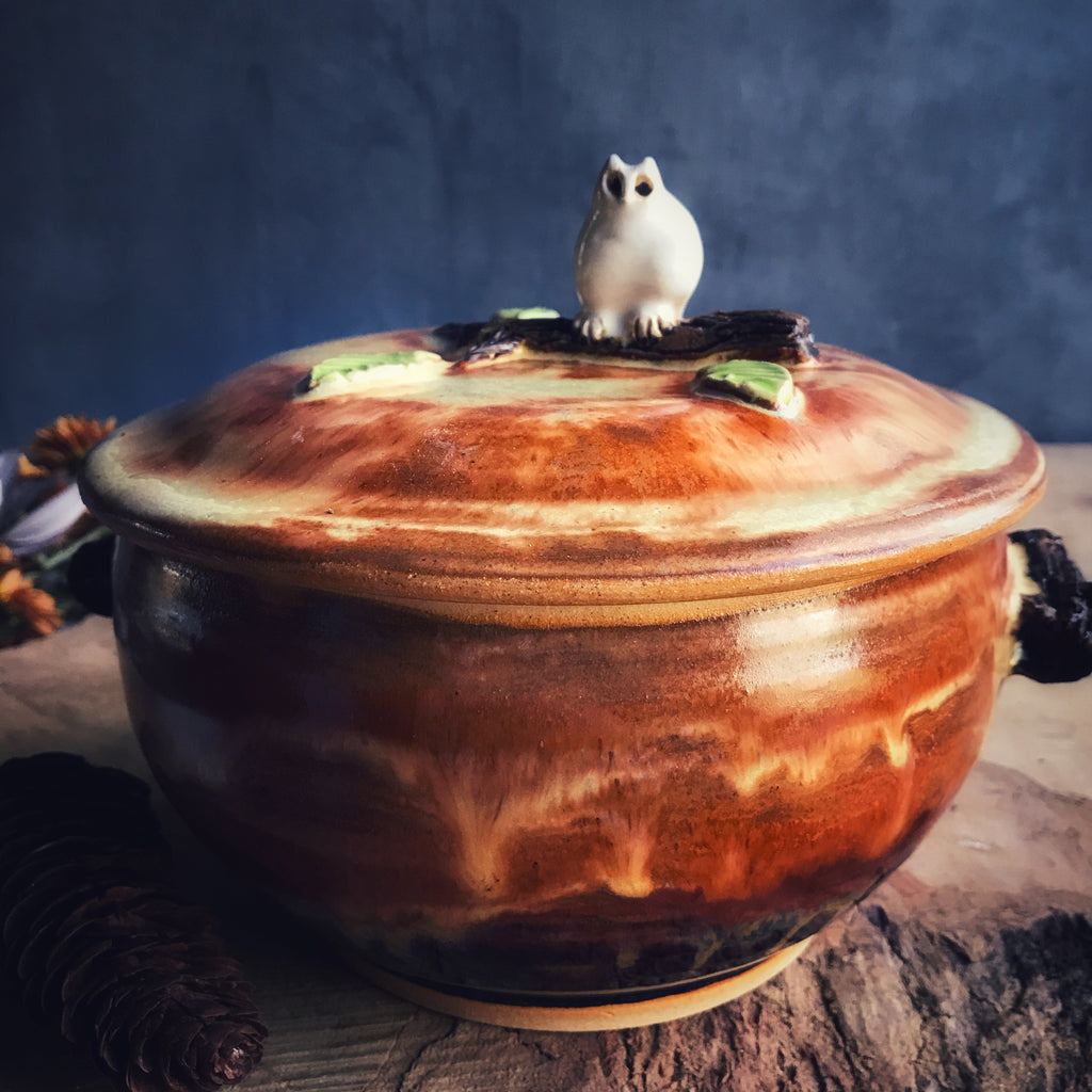 Owl Casserole in Rust 2 qt