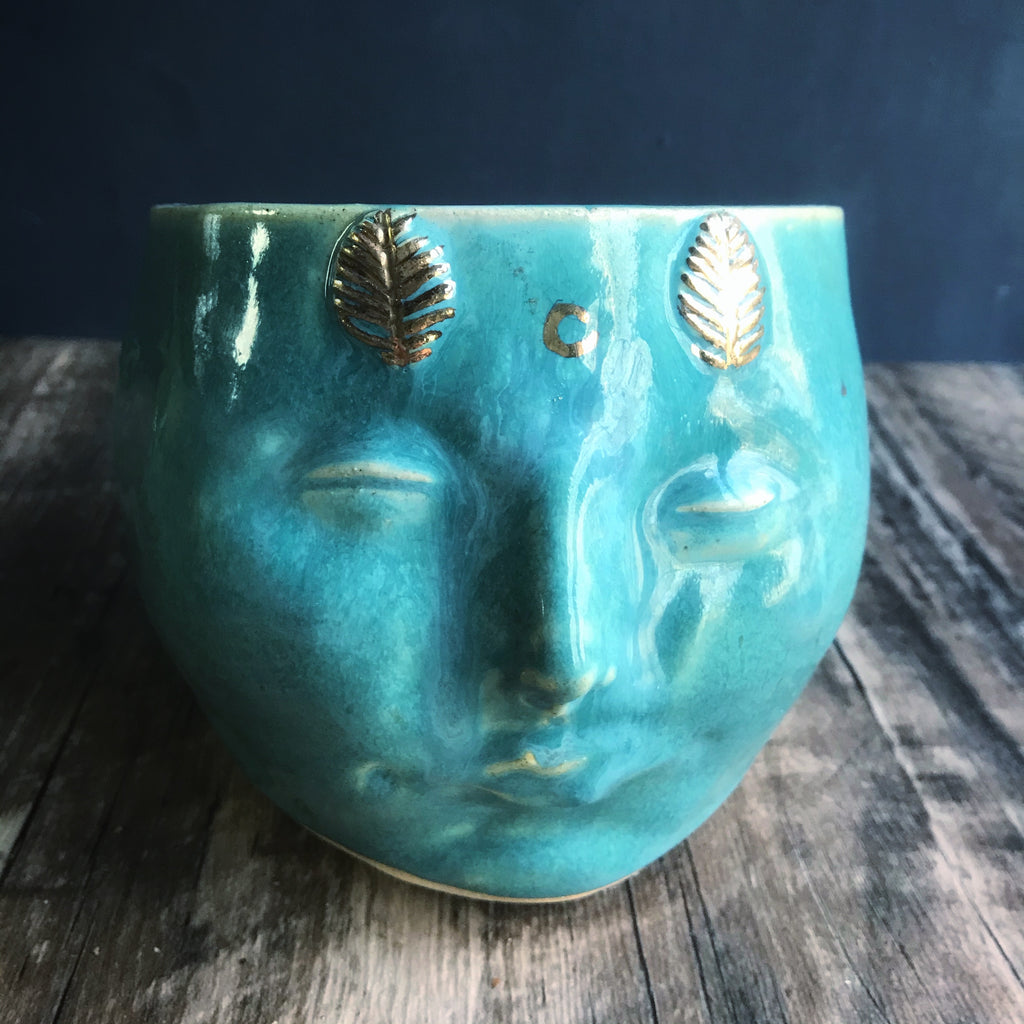 "Moth Woman planter with Turquoise and gold luster glaze 5"" H"