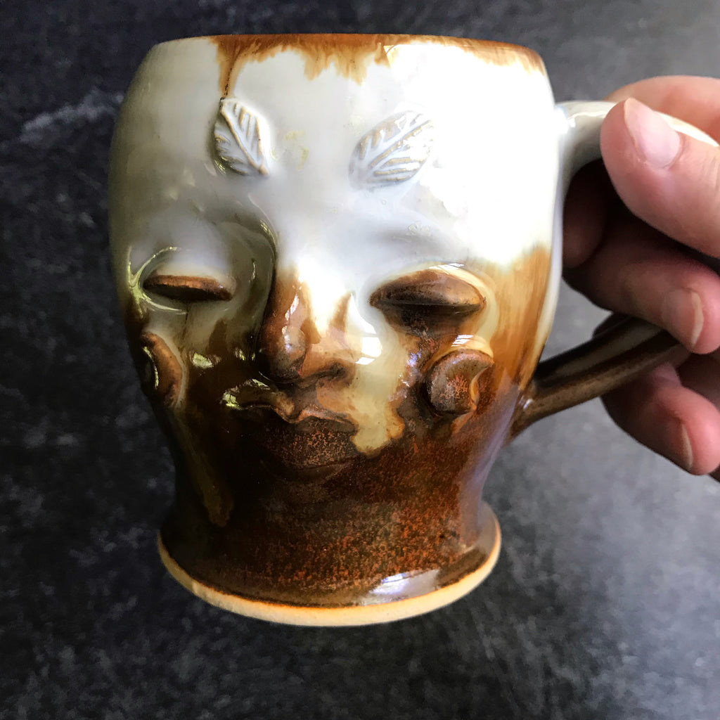 Moth Woman Mug #3 ivory  crystals and red earth glaze12 oz