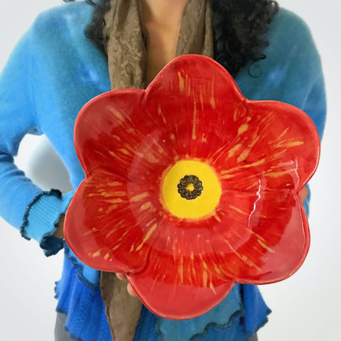 "Poppy Bowl in Red 7 1/2"" D"