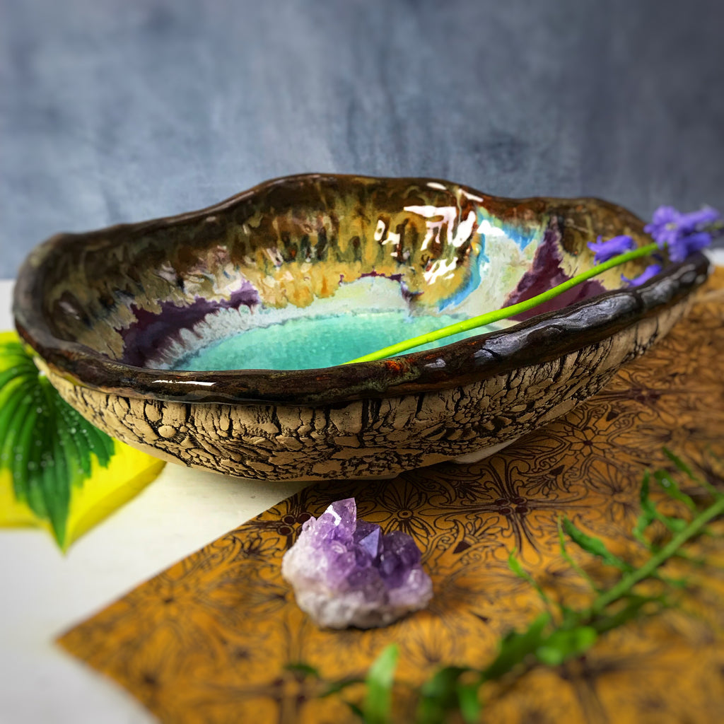 Large Urban Rustic hand built bowl in River Journey 12""