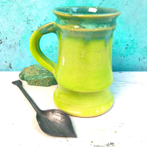 Mug in Turquoise/ Lime 6 Oz