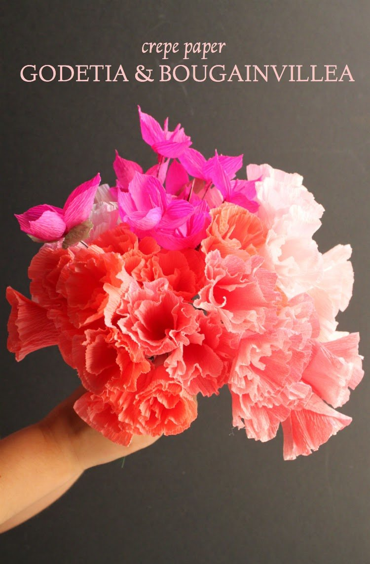 Crepe Paper Godetia and Bougainvillea