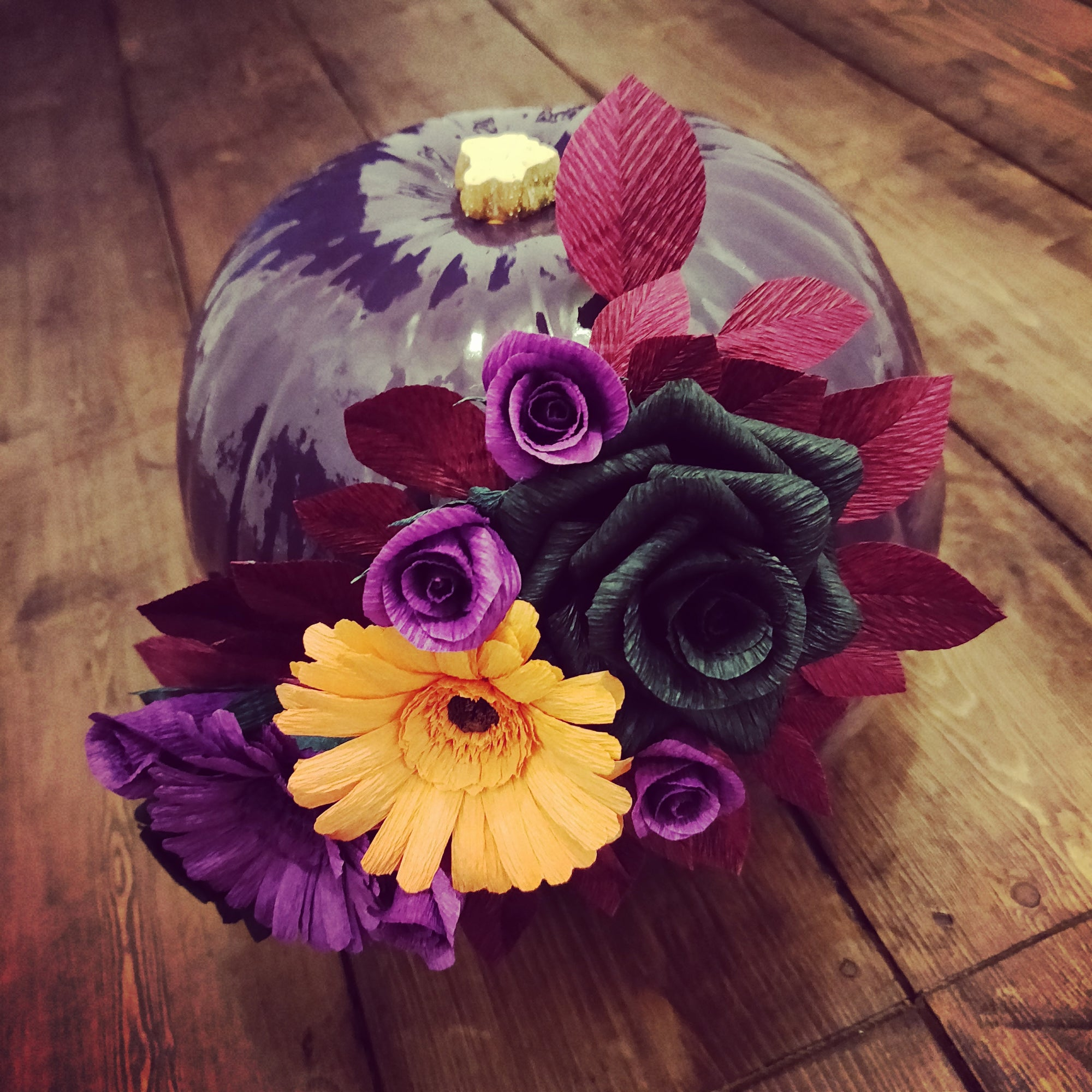 Crepe Paper Flower Halloween Pumpkin Decoration