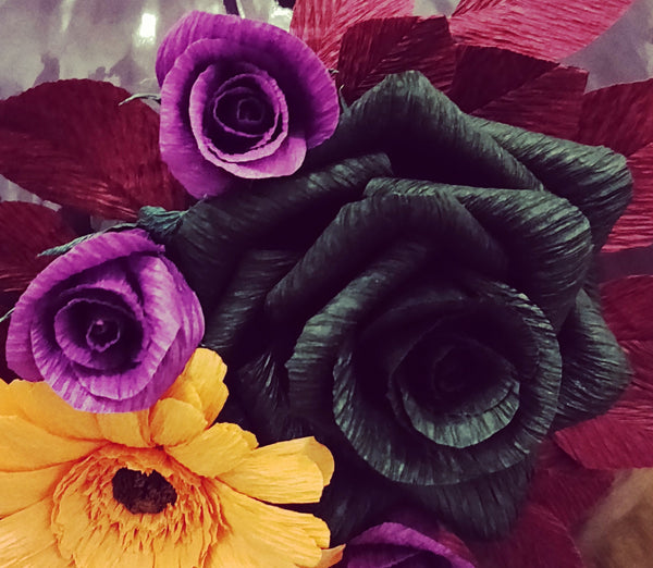 crepe paper black rose and buds