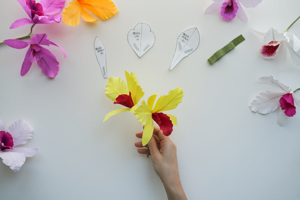 crepe paper orchid tutorial step 10