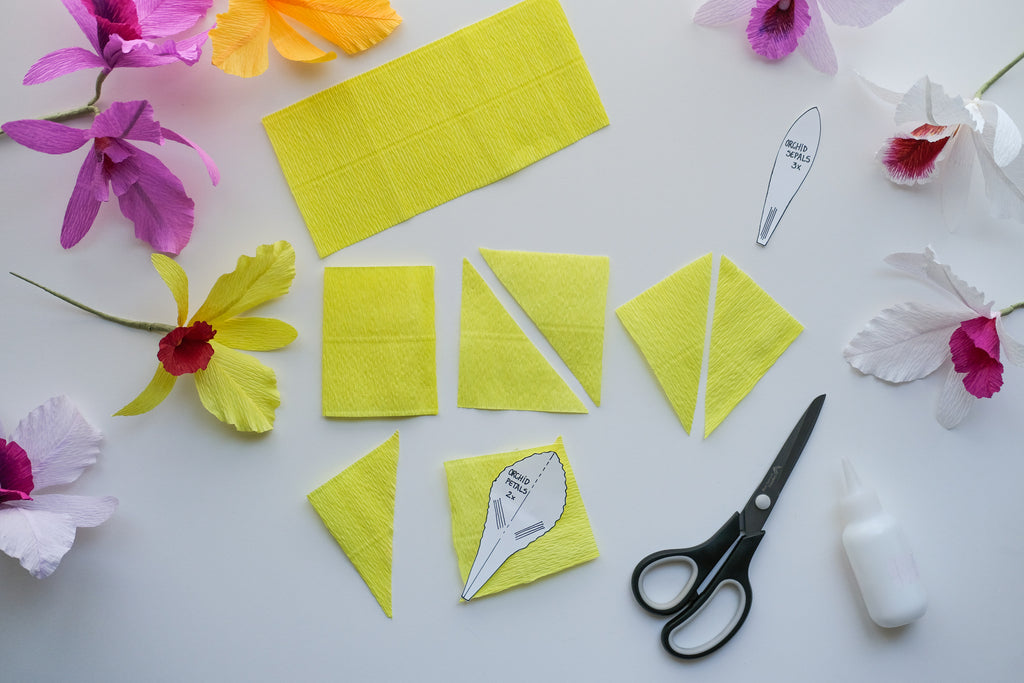 crepe paper orchid tutorial step 3