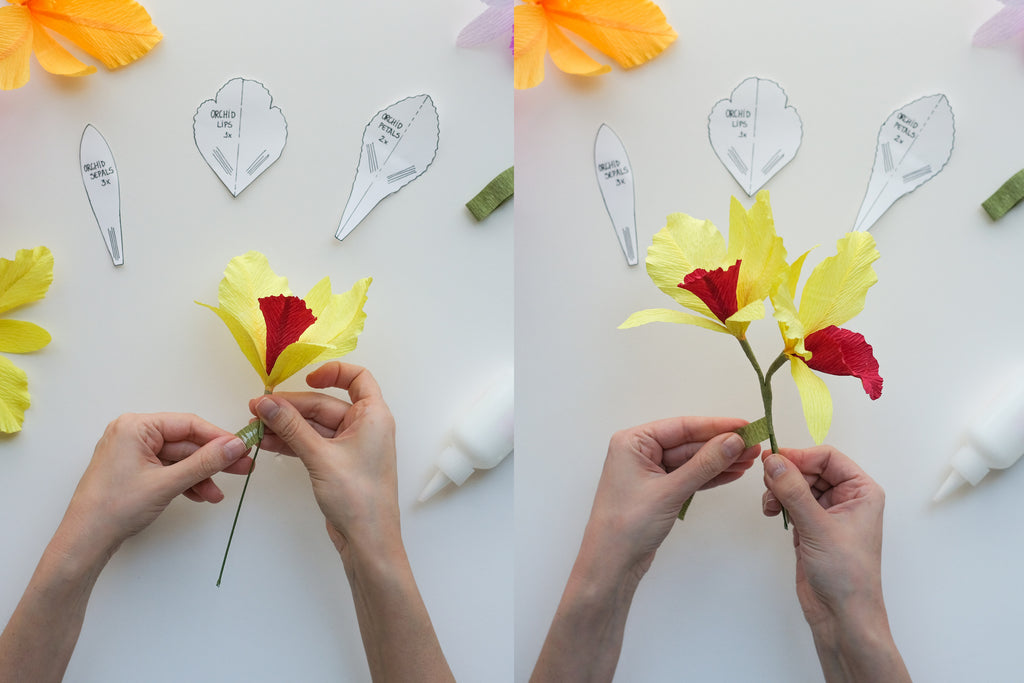 crepe paper orchid tutorial step 9