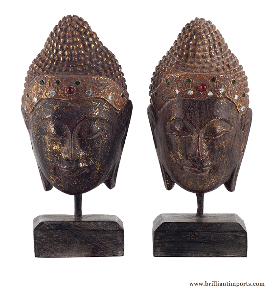Pair of Buddha Heads on Stands
