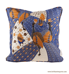 Quilted Blue Peacock Batik Pillow