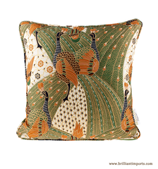 Quilted Green Peacock Batik Pillow