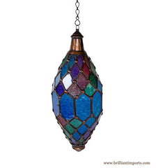 Hanging Lantern in Blue Patterned Glass