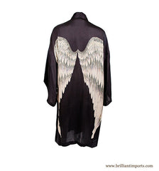 Coffee Silk Wing Robe, short