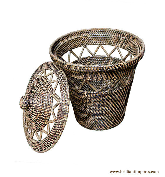 Basket with Open Weave Design & Top